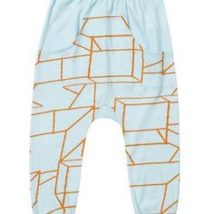 Baobab – Blue Geo Cool Trax Super comfy dropped-crotch baggy track pant made from lightweight 100% organic cotton fabric with oversized front pocket.  Machine washable. Available in 'blue geo print' fabric exclusively designed for Baobab.