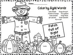 Pumpkin Color Words for fall KinderLand Collaborative