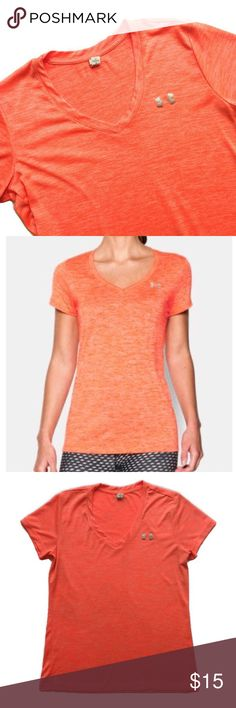 """Under Armour V-Neck Marled Orange Shirt Orange marled v-neck athletic shirt from Under Armour, size small. Fit is loose and more relaxed. Material is not sheer. Color is most accurate in stock photo and the first photo. EUC, no stains or flaws. All measurements taken laying flat. • Material: 100% polyester  • Length: 24.5"""", Bust: 17.5"""", Sleeve Inseam: 1.5"""" Under Armour Tops Tees - Short Sleeve"""