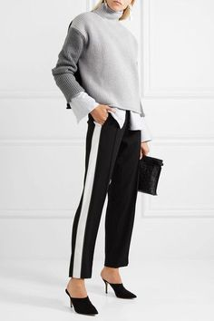 Can't mess with perfection... every piece is unique, versatile and stunning a piece of the sensuous puzzle. [Victoria Beckham Tonal-gray wool Slips on 100% wool Dry clean Imported]