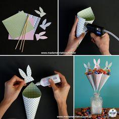 montando os cones- Passo a passo com fotos - How to make cones to fill it up with chocolate candy- DIY tutorial  - Madame Criativa - www.madamecriativa.com.br