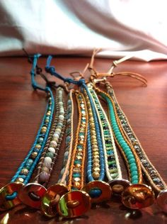 Chan Luu Inspired Single Wrap Bracelet with Beachy Beads on Leather