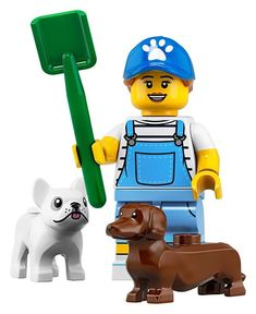 The LEGO Dog Walker Minifigure from the Custom Minifigure Series You will receive one Dog walker minifigure including everything that comes inside the sealed poly bag including a green shovel, … Minifigura Lego, Lego Dog, Buy Lego, Lego Ninjago, Lego Star, Lego News, Lego People, Lego Minifigs, Lego Parts