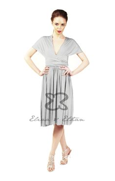 Eliza and Ethan - Multiway - Infinity - Bridesmaids Dresses - OneSize - Short MultiWrap Dress Color: Platinum Bridesmaids, Bridesmaid Dresses, Wedding Dresses, Multi Wrap Dress, Infinity Dress Bridesmaid, Convertible Dress, Gatsby Wedding, Bandeau Top, One Size Fits All