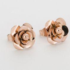 Rose Golden Flower Stud Earrings