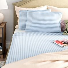 Alwyn Home 400 Thread Count Striped Cotton Sheet Set Size: Queen, Colour: Light Blue Trundle Mattress, Twin Daybed With Trundle, Air Mattress, 100 Cotton Sheets, Cotton Sheet Sets, Tommy Bahama, Wood Daybed, Single Quilt, Scrappy Quilts