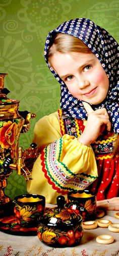 Russian girl at the tea-table.