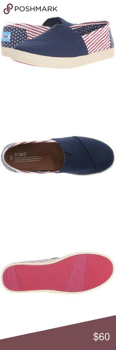 NWT Toms - Avalon Slip on Size 8 Color: Americana Canvas Flag  The TOMS? Avalon Slip-On design offers incredible style, stability, and comfort that makes it ideal for everyday wear.Elastic V-panel for easy on and off.Soft textile lining.Comfort textile footbed provides light cushioning and breathability.Flexible, one-piece, mixed-rubber sole. TOMS Shoes Flats & Loafers