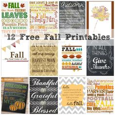 12 Free Fall Printables via Chase the Star