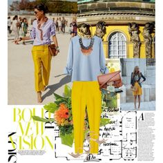 """yellow street style"" by gifra on Polyvore"