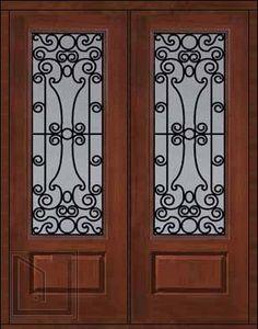 $5,419 Prehung Double Door 96 Fiberglass Genoa 1 Panel 3/4 Lite GBG Glass