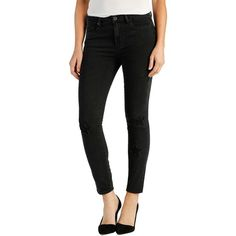 Paige Denim 'Hoxton' High Rise Ankle Skinny Jeans ($299) ❤ liked on Polyvore featuring jeans, athena noir, high rise jeans, high waisted distressed skinny jeans, destroyed skinny jeans, denim skinny jeans and ripped skinny jeans