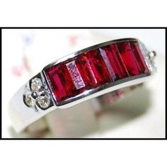 18K White Gold Jewelry Natural Ruby and Diamond Ring by BKGjewels