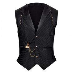 Linde Waist Coat Model VG-16445-XS Condition New Showcasing here is a black, single breasted, Steam-punk inspired waist-coat that has already won several hearts with its enchanting and magnificent looks! Bring home the true winner that has already been praised for its all-round sophistication!