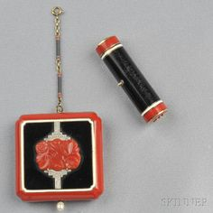Art Deco 14kt Gold, Coral, Enamel, and Diamond Compact and Lipstick Case
