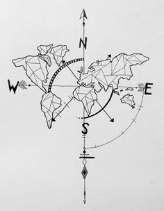 geometric world map compass arrow nautical travel tattoo design by alba