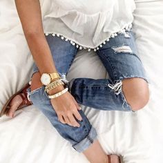 Pom Pom trim top with distressed denim | Fashion | Style | OOTD