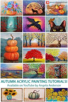 Autumn Acrylic Painting Tutorials by Angela Anders Fall Canvas Painting, Canvas Painting Tutorials, Simple Acrylic Paintings, Acrylic Painting Techniques, Autumn Painting, Diy Canvas Art, Diy Painting, Drawing Tutorials, Acrylic Canvas