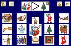 """""""Tablero de comunicación: Navidad"""". Recopilación de diferentes tableros de comunicación de 12 casillas, organizados por necesidades básicas y centros de interés. Los tableros pueden imprimirse tal como aparecen en los documentos o bien se puede modificar el contenido, la forma, el color, etc., para adaptarlos a las características individuales de cada usuario. Pueden utilizarse también para trabajar distintos repertorios de vocabulario agrupado por temas o categorías."""