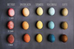 dyeing tutorials Eggs To Dye For! Weve been wanting to share an all-natural egg-dye tutorial with our members for years now but something always seems to get in the way either the ki Easter Egg Dye, Coloring Easter Eggs, Hoppy Easter, Natural Dyed Easter Eggs, Food Coloring Egg Dye, Egg Decorating, Decorating Easter Eggs, Shibori, Easter Crafts