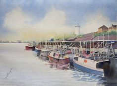North Shields fish quay in watercolours.
