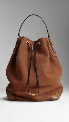 Large Nubuck Leather Hobo Bag | Burberry
