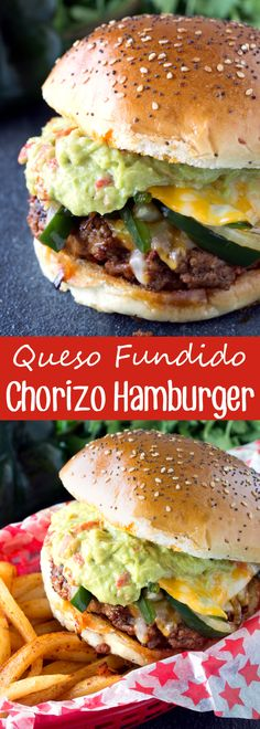 Queso Fundido Chorizo Hamburger This Mexican-inspired burger packs a punch of flavor with the chorizo ground beef patty smothered in peppers, onions, and cheese. It's a Queso Fundido Chorizo Hamburger. Chorizo Burger Recipe, Chorizo Recipes, Meat Recipes, Mexican Food Recipes, Cooking Recipes, Quick Recipes, Cooking Tips, Mexican Burger, Minced Meat Recipe