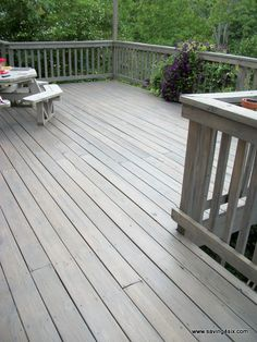 Saving 4 Six: How to clean a deck - Pewter Semi Transparent Behr Stain Grey Deck Stain, Deck Stain Colors, Deck Colors, Fence Stain, Behr Deck Over Colors, Wood Deck Stain, Best Deck Stain, Gray Stain, Paint Colours