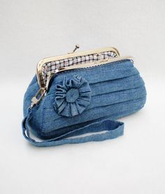 Beautiful Blue Jean Pleated Clutch Purse Coin Purse by MadeBySiam, $22.00