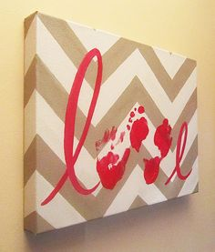 "Any Color, Chevron Love Handprint and Footprint Canvas Art with Print Kit, Custom Handpainted Keepsake, 12x16"" by SnowFlowerArts on Etsy https://www.etsy.com/listing/171186549/any-color-chevron-love-handprint-and"