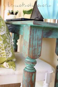 DIY Painted Table: Use Walnut Stain - then Paint, then Sand, then Stain again - Love this look! by Lemonade Makin' Mama by mollie Paint Furniture, Furniture Projects, Furniture Makeover, Diy Projects, Furniture Stores, Modern Furniture, Furniture Design, Desk Makeover, Furniture Cleaning