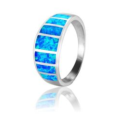 925 Sterling Silver Blue Inlaid Opal Band Ring -- Continue to the product at the image link. (This is an affiliate link and I receive a commission for the sales)