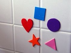 Colorful Foam Bath Toys ~ CUT foam into the shapes that you want, WET them, and STICK them on bath tile!
