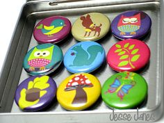 WOODLAND Animals  - Set of 9 Button Magnets with Window Top Tin - ready for gift giving - refrigerator magnets. $12.95, via Etsy.