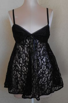 47038ce881aa4 Vintage Sheer Lace Black Nightgown With Panty by Escante Romantic Negligee