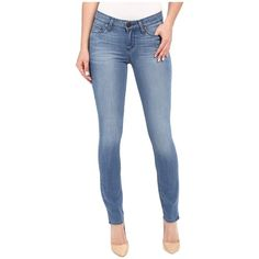 Paige Verdugo Ankle w/ Side Slits in Harbor (Harbor) Women's Jeans ($189) ❤ liked on Polyvore featuring jeans, skinny jeans, zipper skinny jeans, slim skinny jeans, skinny fit jeans and mid rise skinny jeans