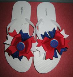New York Giants Bow Flip Flops by laceeeyb88 on Etsy, $10.00