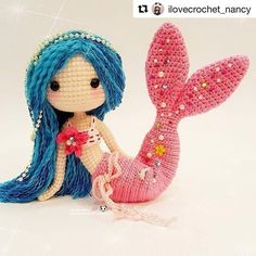 #Repost @ilovecrochet_nancy with @repostapp  ・・・  Beautiful Mermaid Ava 魅力无法挡的美人鱼艾娃 💋💋💋 (lovely pattern by @lydiawlc 🎣)