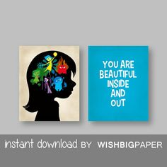 Inside Out Wall Art Prints-Instant Download-Set of three (2).Inside Out Movie Quote. You Are Beautiful Inside And Out Print.Inside Out Decor