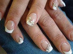 unghie gel nail art sposa con french e glitter oro