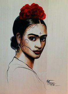 Dia de los Muertos Frida Kahlo Day of the Dead Art by KatTatz