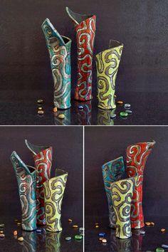 Guarda questo articolo nel mio negozio Etsy https://www.etsy.com/it/listing/457975386/vasi-portafiori-in-ceramica-raku-vasi