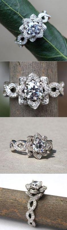 Diamond Engagement Flower Ring - Infinity - Gorgeous Unique Rose -Lotus - Beautiful Petra Patented Design