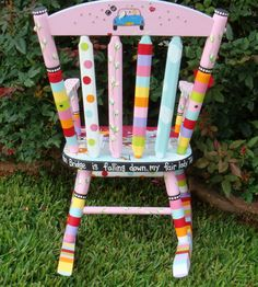 Personlaized Kids Rocker Custom Painted Rocking Chair for Children Kids Rocker Personalized Childs Rocking Chair Rocker for Kids Custom Whimsical Painted Furniture, Hand Painted Furniture, Funky Furniture, Kids Furniture, Painting Furniture, Colorful Furniture, Furniture Projects, Painted Rocking Chairs, Mckenzie And Childs