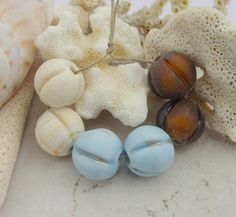 Handmade Lampwork Beads - Etched Fluted Rounds Glass Beads $18