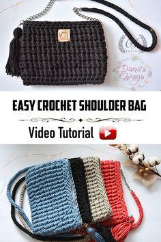 Cartera tejida a crochet! Con este video tutorial podrás aprender paso a paso a tejer esta cartera/bolso de manera fácil y rápida! Crochet Backpack, Crochet Clutch, Crochet Handbags, Crochet Purses, Crochet Bags, Crochet Bag Tutorials, Crochet Crafts, Easy Crochet, Purse Patterns Free