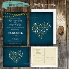 Some things are meant to be - Navy Chalkboard Inspired String Light Wedding Invitation and RSVP cards