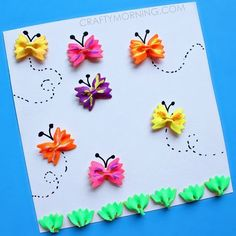 This is super cute! Make bow-tie noodle butterflies for a kids craft! Perfect for an art project.
