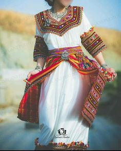 Habit Traditionnel, Tenue Traditionnelle Algérienne, Robe Kabyle Mariage,  Robe Berbere, Robe Kabyle