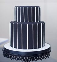 Navy and White Pinstripe Cake